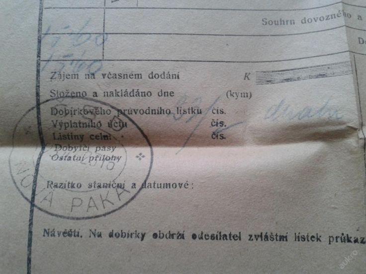 Nákladový list na sudy piva ČD Nová Paka (6318501102) - Aukro - největší obchodní portál