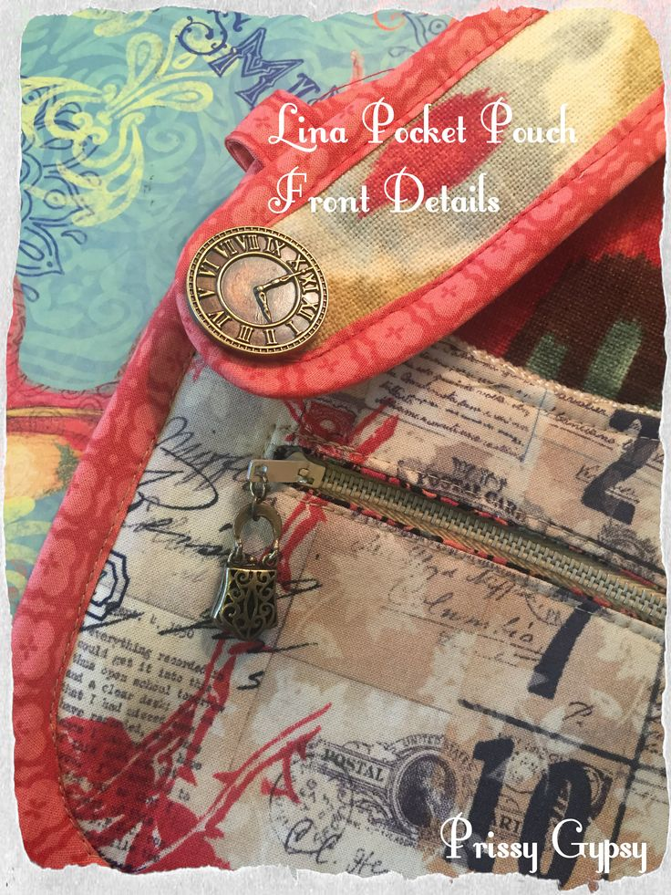 Pocket Pouch can be worn Cross Body or on belt, belt loops, as a wristlet. Versatile! Graphic Numbers, Southwestern Ikat, Paisley prints, Dark Orange, Gray, Black, Teal, Natural, Clock Button, purse zipper pull, has 4 pockets, 2 credit card slots inside.