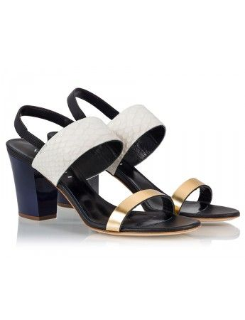 Vicini Color-block mid heel sling-back sandals #ViciniShoes #GiuseppeZanotti #Sandals