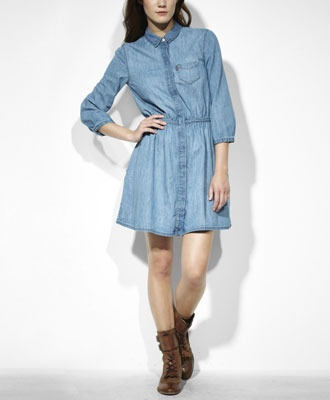 Levi's Button-Up Dress - Medium Worn. (layered with tights, boot socks, boots, and a scarf and/or adorable sweater -- this is love.)