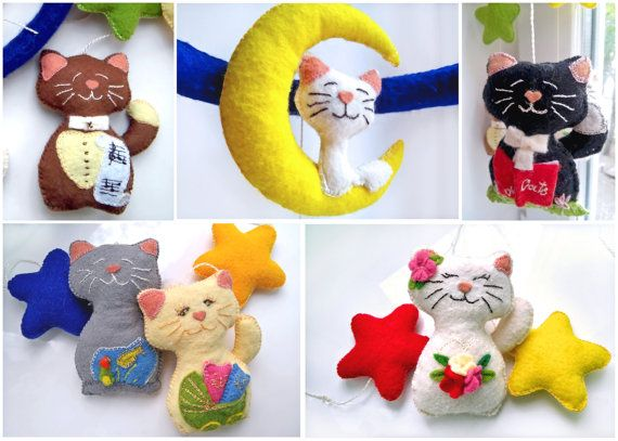 Felt Baby Mobile. Unique Baby Nursery Mobile. Cats, Kitten, Moon & Stars Mobile. Nursery Decor.