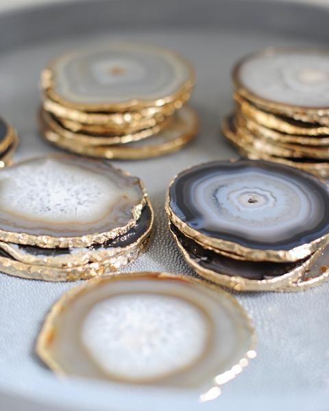 Gold Rim Agate Stone Coaster Accessory