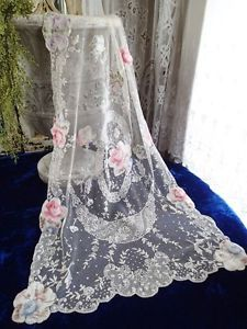 OH-MY-Antique-FRENCH-Victorian-Net-LACE-Watered-Silk-ROSES-Curtains-Panels  Vintageblessings