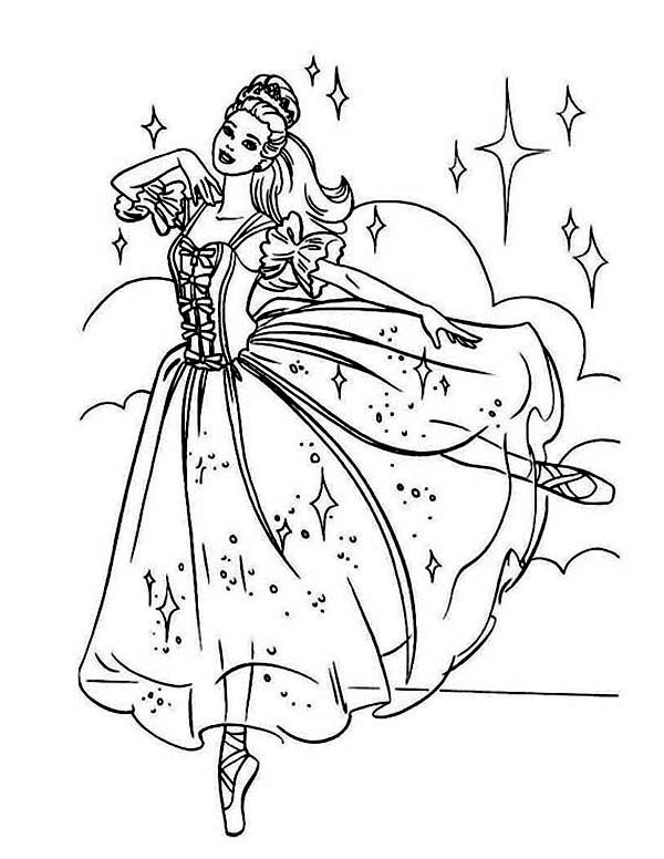 Ballerina Beautiful Barbie Ballerina Coloring Page Ballerina