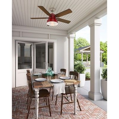52 Quot Mill Valley Barn Led Lighted Ceiling Fan Barn Red