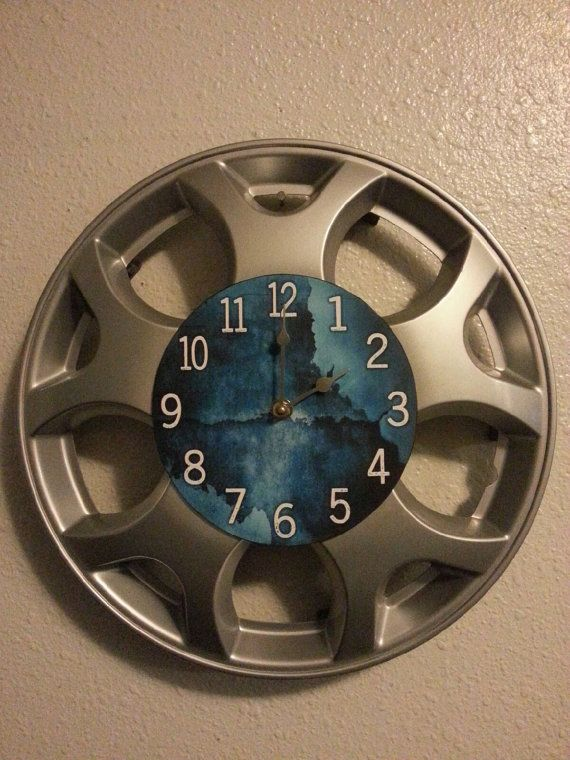 """UpCycled Hubcap Clock 14.25"""" Diameter Finished With Numbers."""