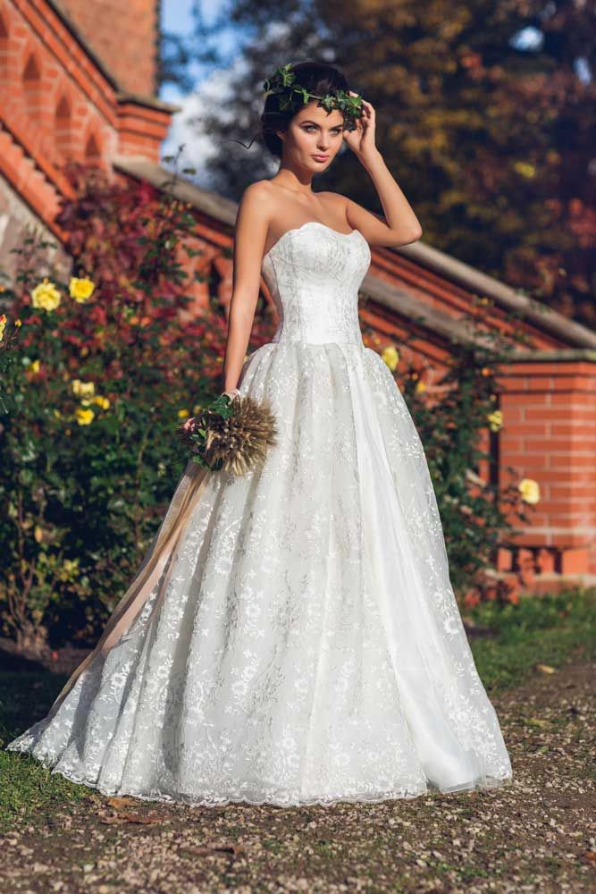 Ballgown Lace Strapless Wedding Dress From Ingrida Bridal Based In