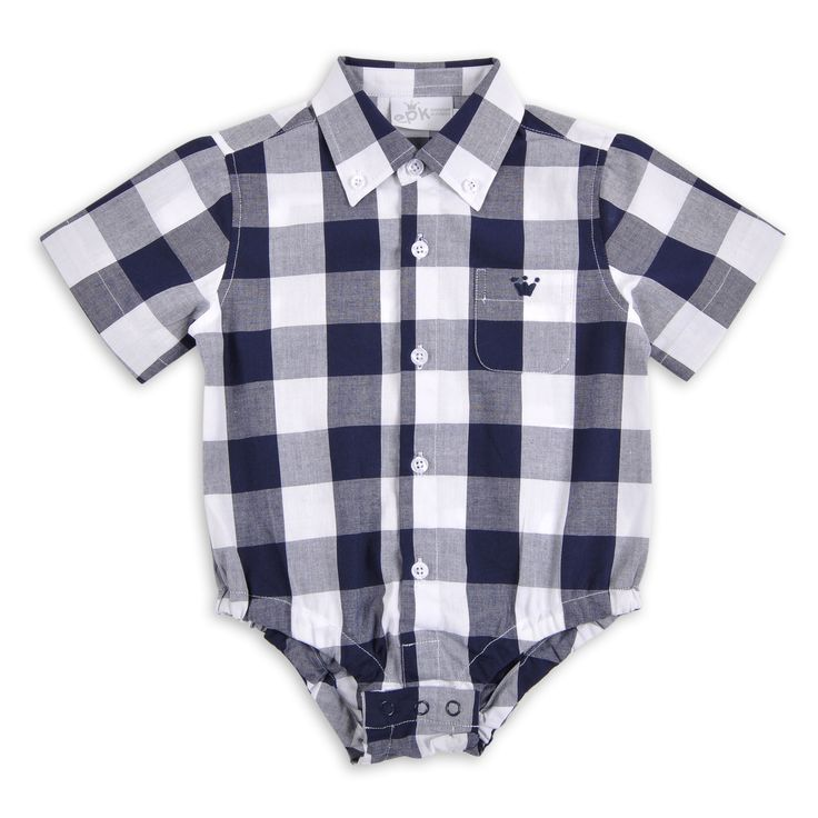 Body EPK para bebe niño de cuadros azul marino y blanco