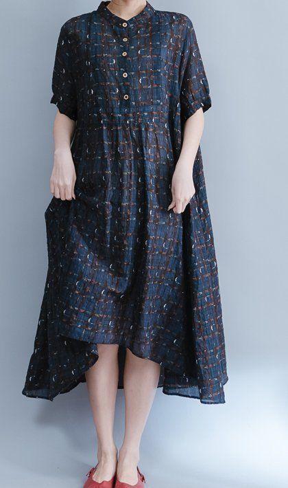 Women loose fit over plus size Bohemian dress longi tunic linen blue button up #Unbranded #dress #Casual
