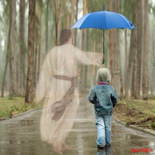 Jesus walking with little boy and a blue umbrella. Olgaki 9 on