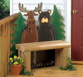 Moose Bear Bench Wood Decor