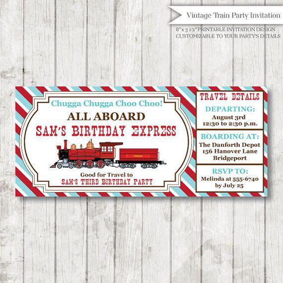Train Themed Birthday Party Invitations train birthday train party
