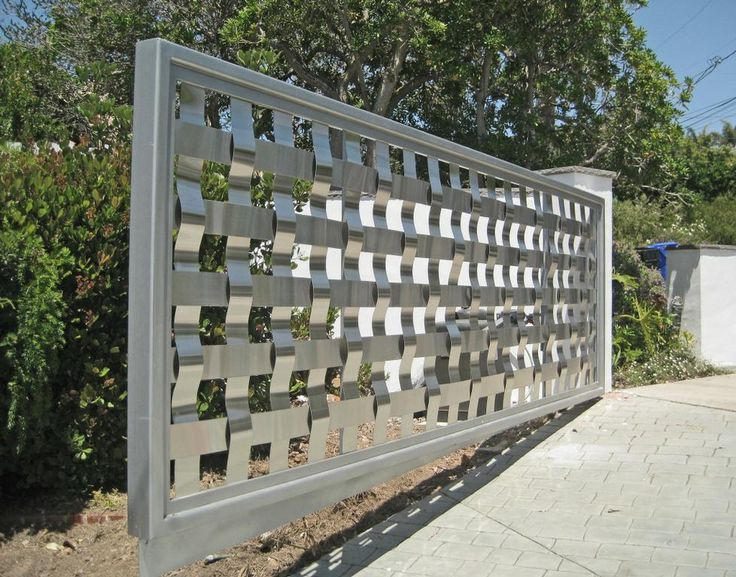 privacy gate for around a pool | Friendly-Fence-Woven-Stainless-Steel-Gate-La-Jolla-Swing-Silver-Heavy ...