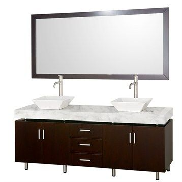 Malibu 72 Inch Double Bathroom Vanity Set By Wyndham Collection   Espresso  Finish With White Carrera