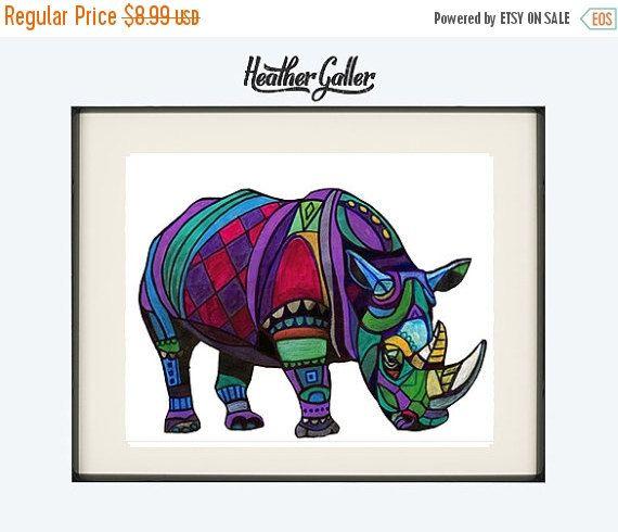 20% Off Today DIGITAL Print File  Rhino by HeatherGallerArt