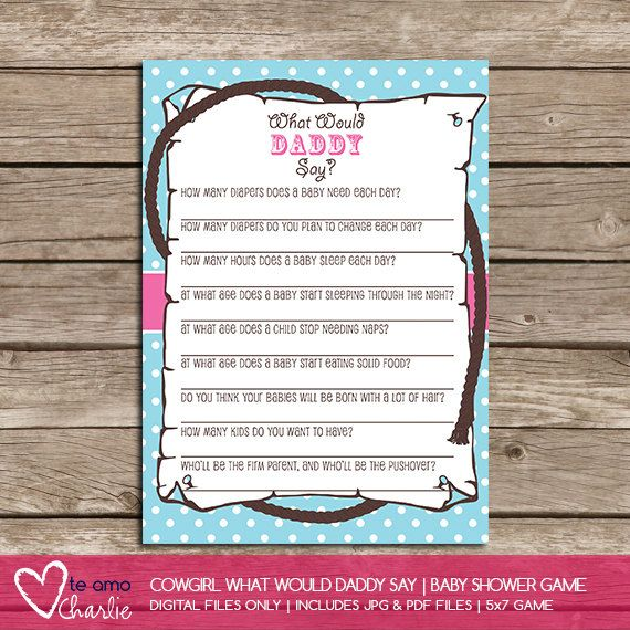 What Would Daddy Say Western Baby Shower Game  by TeAmoCharlie, $5.00