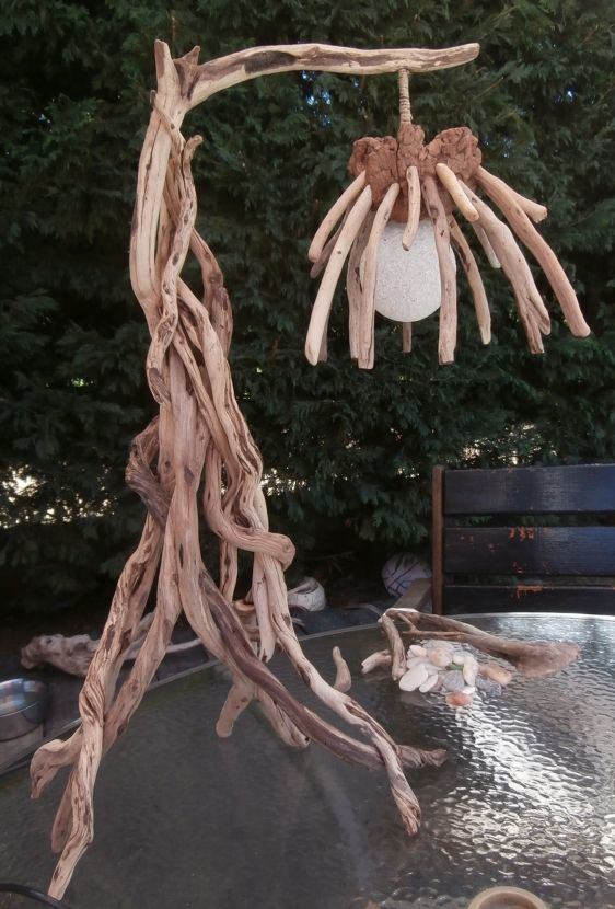 Driftwood Vine Lamp - A totally unique table or floor standing lamp, constructed from driftwood branches which have been carefully woven together.  The electric cable has been cunningly concealed inside the main branch.  The 'shade' is made from smaller driftwood twigs attached to a driftwood block.