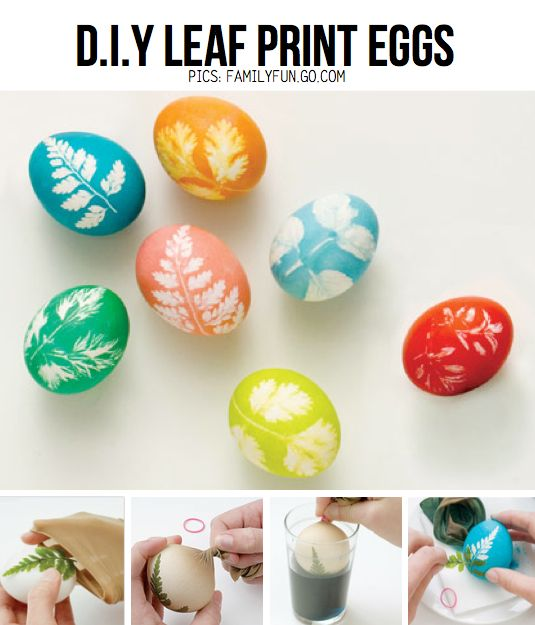 DIY Leaf Print Eggs from familyfun.go.com, featured in Easy Easter DIY Special on ScrapHacker.com
