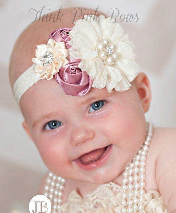 Baby headband, baby headbands, girls headband,newborn headband,shabby chic headband, couture baby headband,flower headband, Baptism Headband...