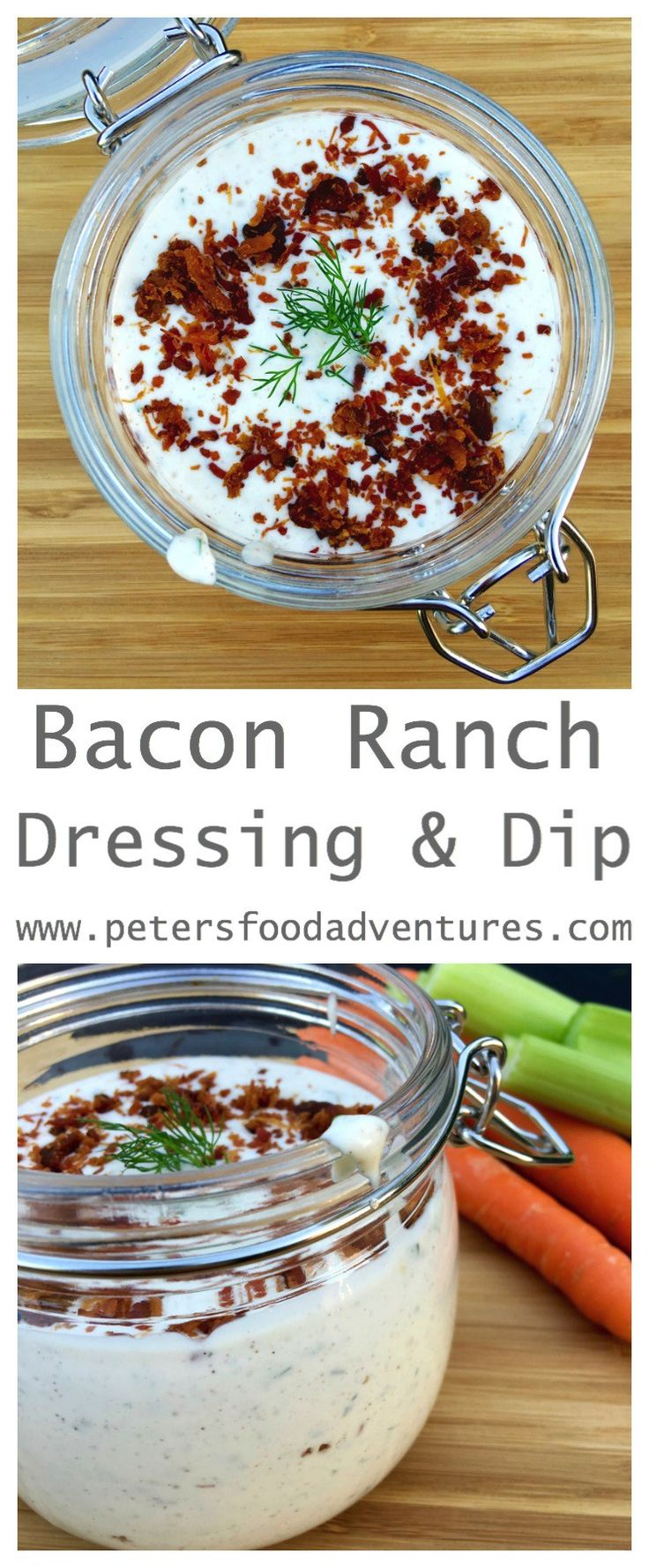 This Homemade Bacon Ranch Salad Dressing & Dip made with Buttermilk, tastes…