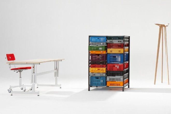 Organization porn plastic crate cabinet by lensvelt for Crate design furniture