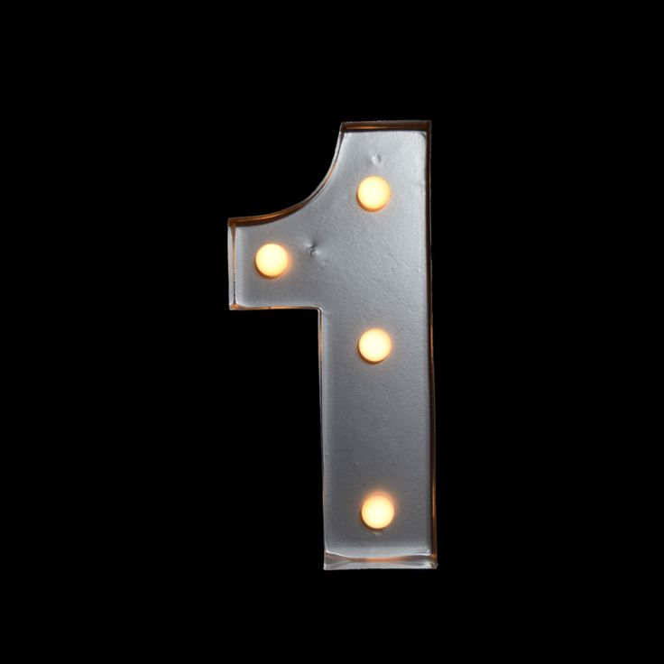 Marquee Light Number 1 Led Metal Sign 8 Inch Battery