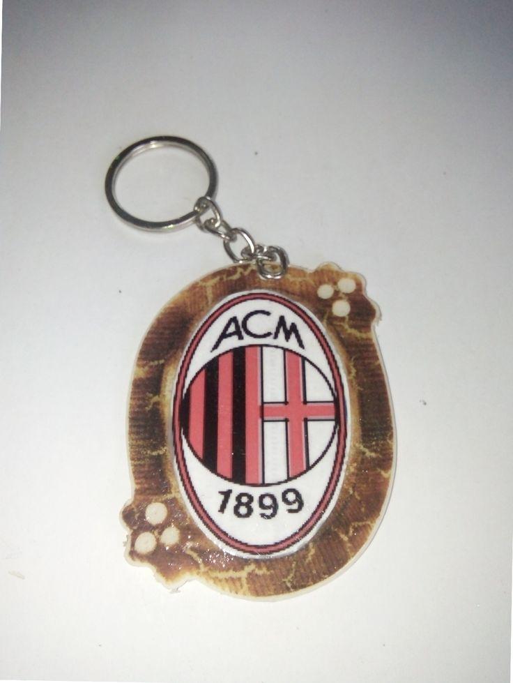 Gantungan Kunci Paralon Bakar Logo Klub Sepakbola AC MILAN