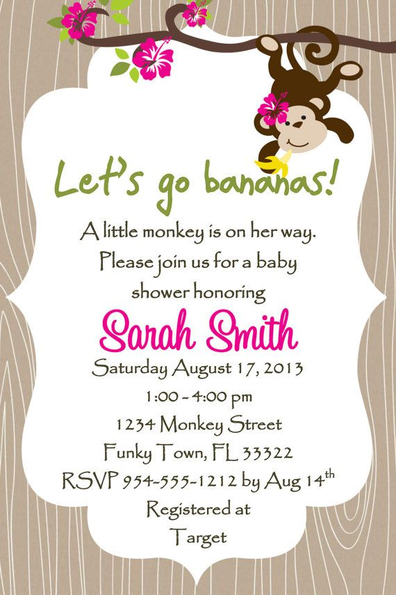 Monkey Baby Shower Invitation Template 4x6  Girl by LuckyBean33, $13.00