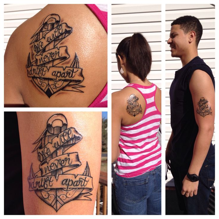Brother and Sister tattoo (We will never drift apart) tattoos, anchor, sibling tattoo