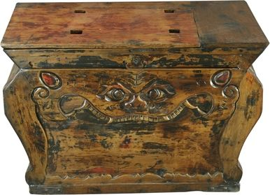 Box Late Qing Dynasty Lion Antique Antiqued Elm 1880 Hand-Carved Carved CF-85