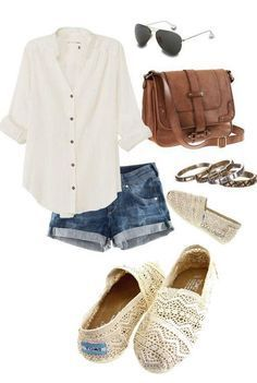 **** Try out Stitch Fix today! Love this easy white button up, paired with cuffed short and lace TOMs!! Great boho outfit. Stitch Fix Spring, Stitch Fix Summer, Stitch Fix Fall 2016 2017. Stitch Fix Spring Summer Fall Fashion.