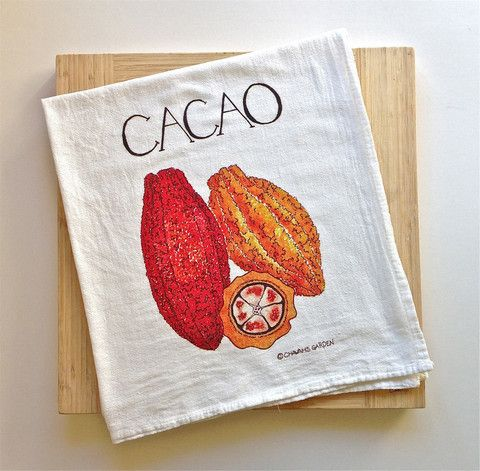 A watercolor portrait of cacao, otherwise known as chocolate in its rawest form, on an equally luscious tea towel.  Come wander amidst our collection of gorgeous, crisp, kitchen towels that absorb water for real.  Give the gift of actually being able to dry your dishes!