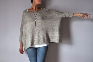 Boxy is a very simple modern sweater, with a very wide body and skinny sleeves. Worked with a lightweight yarn it is very flattering, drapey and stylish!