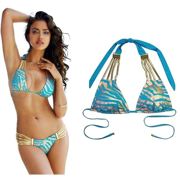 Pre-owned Beach Bunny Take The Reins Zebra Halter Top ($100) ❤ liked on Polyvore featuring swimwear, bikinis, turquoise, halter swimsuit tops, halter bikini top, beach bunny bikini, beach bunny swimwear and zebra bikini