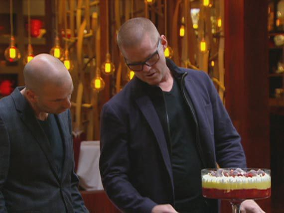 Heston takes a breath before he explains all the delicate layers that make up his 'classic' trifle.