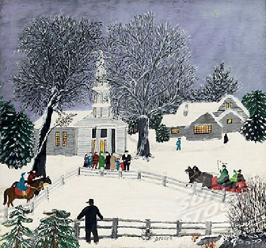 """""""It's not how old you are, it's how you feel.""""  This beautiful painting, """"We Are Coming To Church,"""" is by Grandma Moses (1860-1961.)  Without any formal training, this remarkable woman started painting when she was in her seventies.  She went on to create over 1000 works of art!  She once said: """"Life is what we make it, always has been, always will be.""""  May Grandma Moses inspire us to appreciate every moment of every day."""