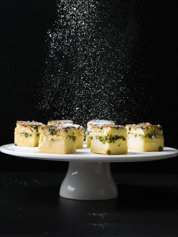 Magische taart met pistachenoten en witte chocolade