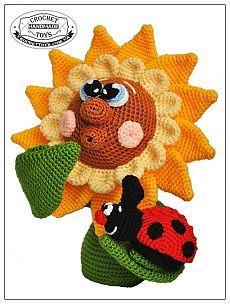 Вязаный подсолнух Любопышка - CrochetToys. Игрушки ручной работы