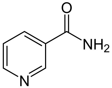 Nicotinamide (NAA), also known as niacinamide, is a vitamin found in food, used as a dietary supplement, and used as a medication.[3][4][5] As a supplement, it is used by mouth to prevent and treat pellagra (niacin deficiency). While nicotinic acid (niacin) may be used for this purpose, nicotinamide has the benefit of not causing skin flushing.[4] As a cream, it is used to treat acne.[5] Nicotinamid.svg