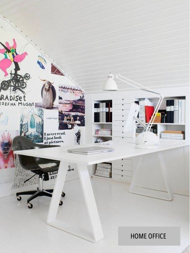 Nice home office - attic space - light,bright and painted all white.