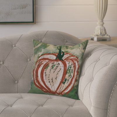 "August Grove Ames Artistic Pumpkin Geometric Throw Pillow Size: 16"" H x 16"" W x 2"" D, Color: Dark Orange"