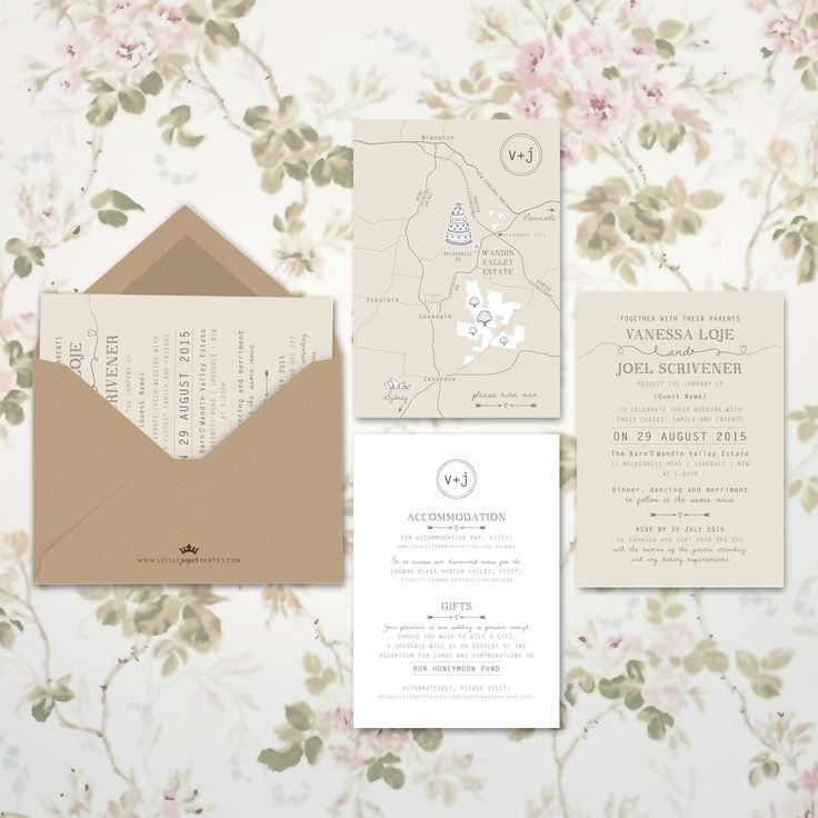 A6 rustic wedding invitation with recycled kraft envelope. Custom map designed for Wandin Valley Estate.