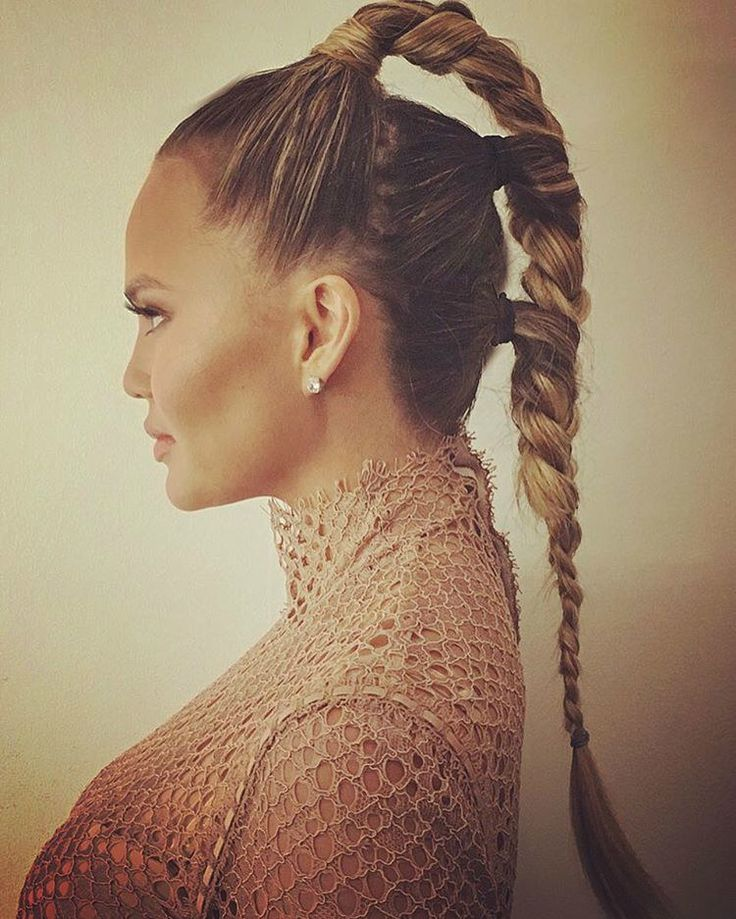 Chrissy Teigen's Futuristic Triple-Braided Ponytail is the Perfect Summer Style for Long Hair