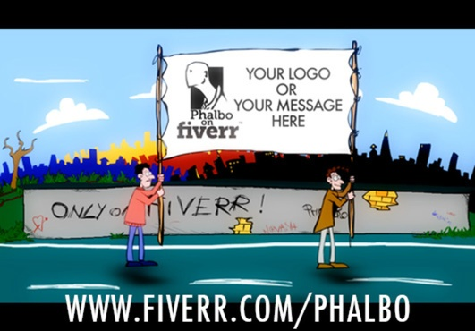 For $5 I Will customize the sign of this little cartoon and the sentence writing on the wall behind them. Check the link for other options.