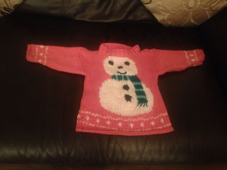 Knitting Patterns For Baby Christmas Jumpers : Babys first Christmas jumper:) made by momma Yarnage - crocheting/knit...