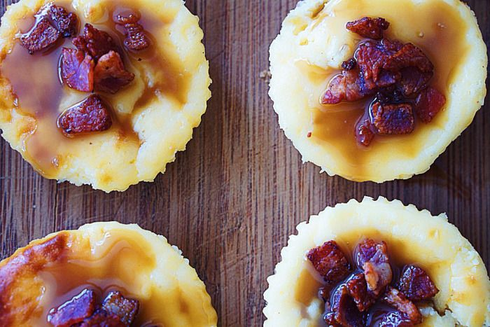 Bite-size butterscotch bacon cheesecakes by Little food blog  #cheesecake #bacon #butterscotch #cheese #minifood #littlerecipes #recipe #food #dessert #dessertrecipe #smallfood #littlefoodblog