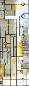 """More stained glass.  Very subtle.  Imagine in creamy gold with pale, slate blue. Dimensions are 24"""" x 64"""""""