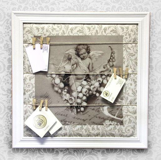 Доска для записок и напоминаний с прищепками Ангел, декор Прованс в Москве