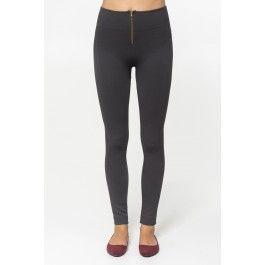 Charcoal thick zipper leggings
