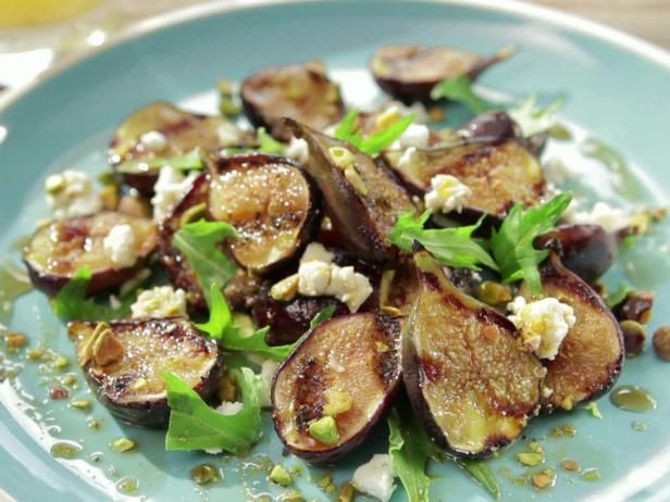 Honey Glazed Grilled Fig Salad with Feta, Pistachio and Mizuna Recipe from Food Network-BBQ Addiction-Bobby Flay